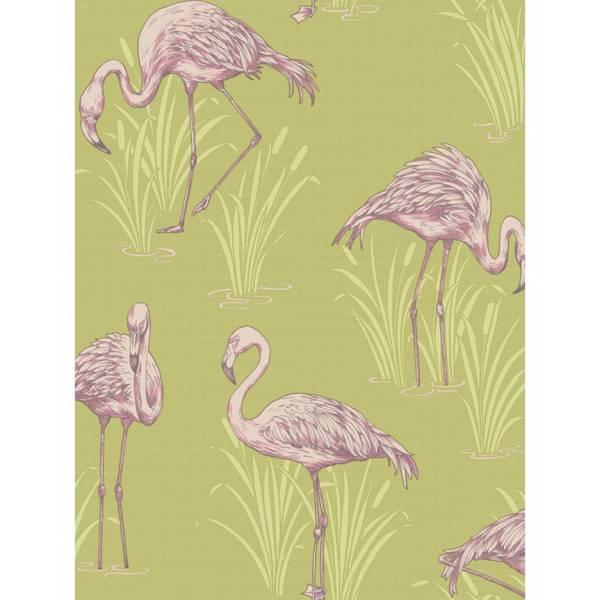 Zöld Flamingó Mintás Tapéta