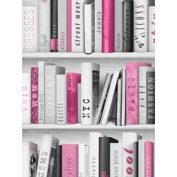 Rózsaszín Könyvespolc Tapéta