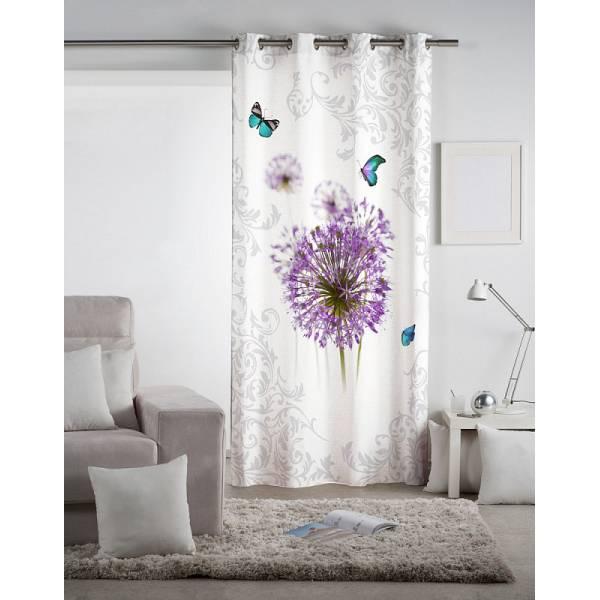 Lila Virágos 3 D Függöny