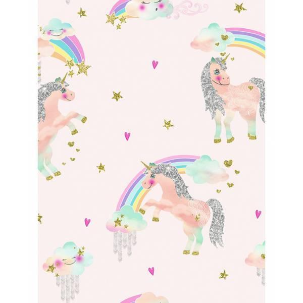 Egyszarvú Rózsaszín Gitteres Tapéta