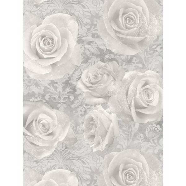 Ezüst Rózsa és Damaszt Mintás Tapéta