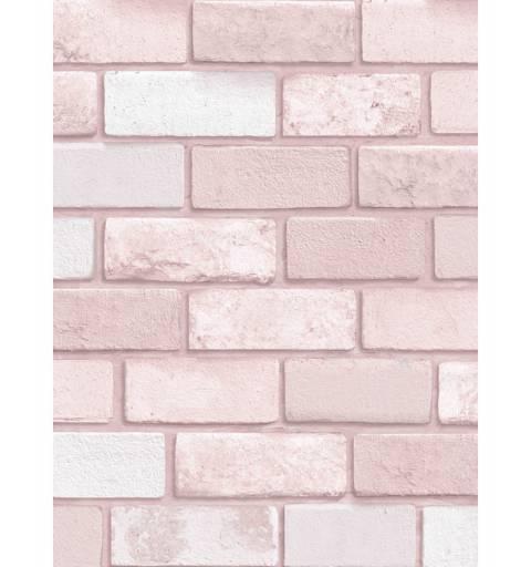 Rózsaszín Gyémánt Tégla Mintás Tapéta