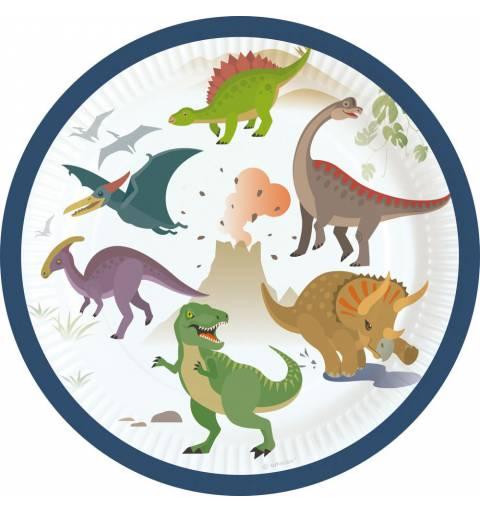 Dinoszaurusz Papírtányér 8 db