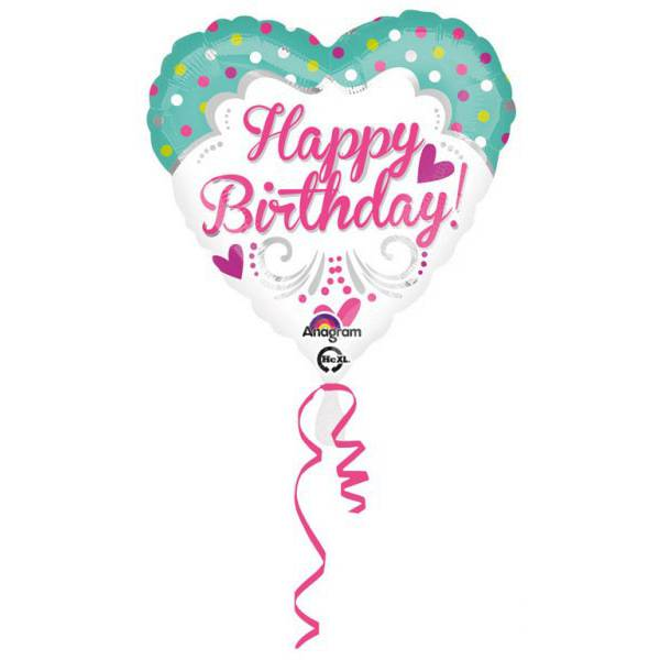 Happy Birthday Szív Fólia Lufi 42 cm
