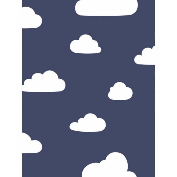 Kék / Fehér Felhő Mintás Tapéta
