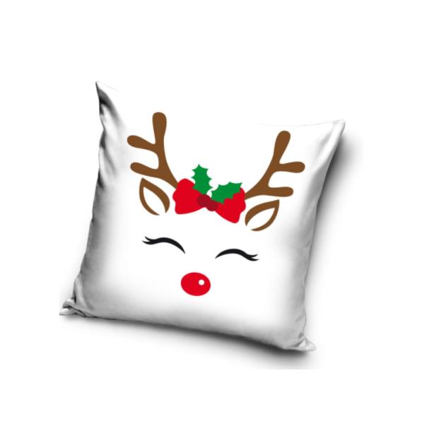 Karácsonyi Fehér Szarvas Párna