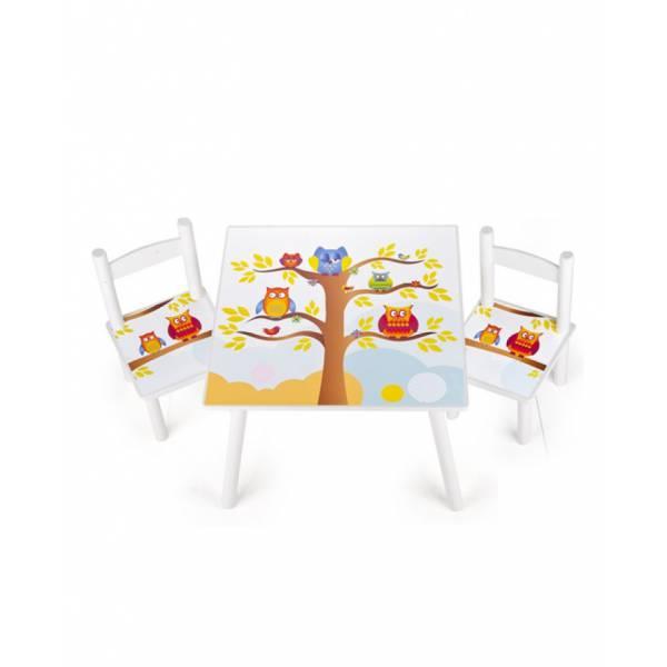 Bagoly  Fa Asztal Székekkel